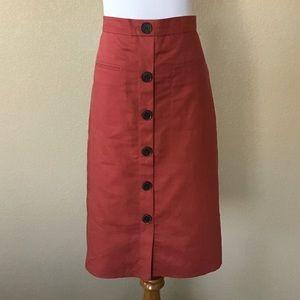Ann Taylor Factory Linen-Blend Button A-line Skirt